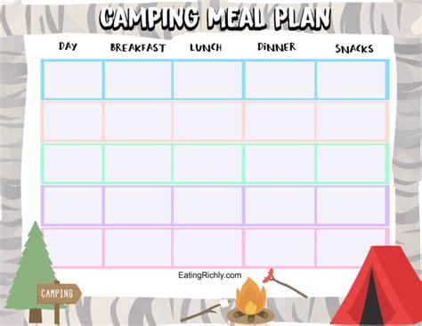 camping food  kids  printable camping meal plan