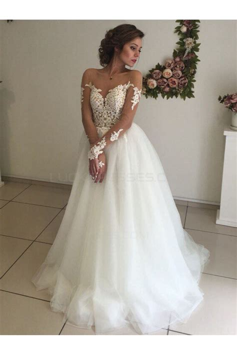 Long Sleeves Lace Illusion Neckline Wedding Dresses Bridal ...
