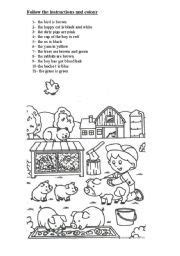 english worksheet follow  instructions  colour