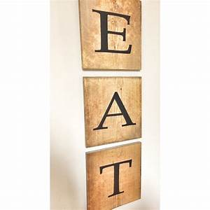 rustic giant jumbo eat wooden tile letter home decor wood wall With wood wall letter tiles