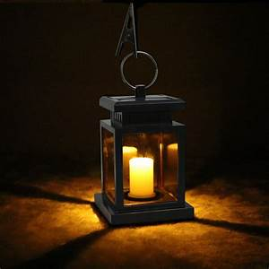 Solar power candle lights led camp garden outdoor lanterns