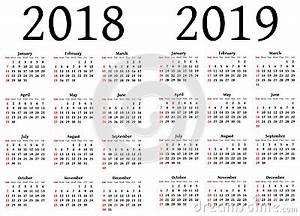Calendário Para 2018 E 2019 Ilustração Stock Imagem