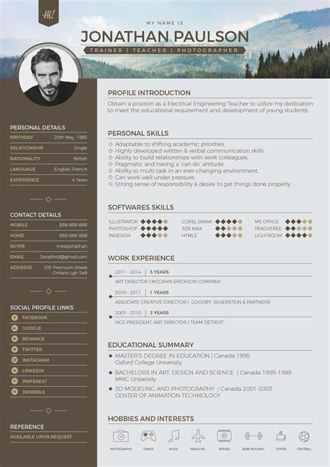 Contemporary Resume 2017 by Free Professional Modern Resume Cv Portfolio Page