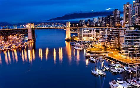 Kanada, Vancouver, Miasto, Nocą, Most