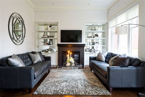 Transitional Living Room Leather Sofa by Lockhart Family Room With Leather Sofa