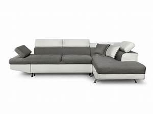 canape d39angle en simili cuir et tissu droit blanc gris With canape angle droit simili cuir