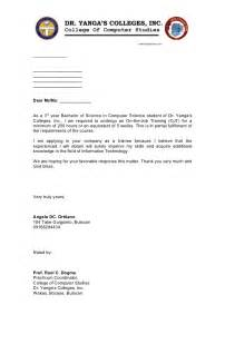 exle of resume letter for ojt ojt application letter