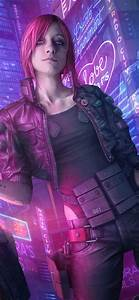 Wallpaper Cyberpunk 2077, pink hair girl, gun, city
