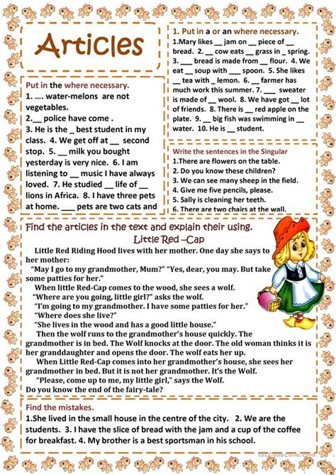 Articles worksheet - Free ESL printable worksheets made by ...