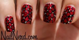 Nail nerd art for nerds ? studded red net nails
