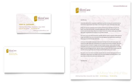 skin care clinic business card letterhead template