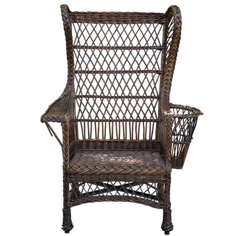 antique wing back wicker chair at 1stdibs