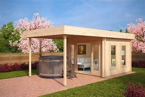 Gartenhaus Mit überdachter Terrasse : modernes gartenhaus mit sonnendach lucas e 9m 44mm 3x3 hansagarten24 ~ Frokenaadalensverden.com Haus und Dekorationen