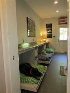 Example of a trendy galley utility room design in other for Dog room furniture