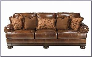 Ashley furniture leather sofa bed furniture home for Leather sectional sofa with recliner and bed