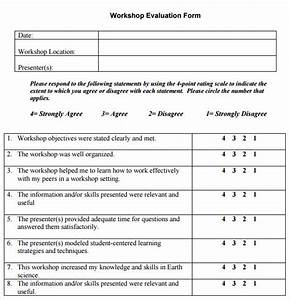 11 sample workshop evaluation forms to download sample With student feedback form template word