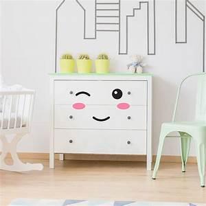 stickers meubles pour bebe yeux bouche pommettes pour With déco chambre bébé pas cher avec bac a fleur xxl