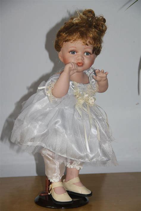 porcelain doll hot 2014 new design16in 40cm ceramic doll wearing gorgeous white ballet dress beautiful