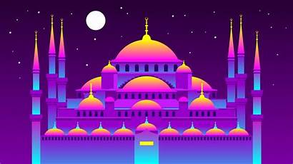Mosque Vector Vaporwave Istanbul Graphics Islamic Clipart