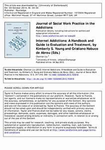 Internet Addictions  A Handbook And Guide To Evaluation