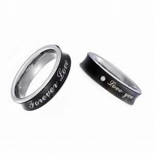 black tungsten his hers engagement wedding band ring With tungsten wedding ring sets
