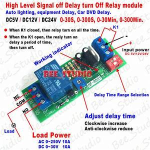 Dc 5v 12v 24v Adjustable Time Delay Timing Timer Relay Switch Turn Off  On Module