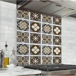 Carreau De Ciment Mural Cuisine : fond de hotte carreaux de ciment marron taupe credence cuisine deco ~ Louise-bijoux.com Idées de Décoration
