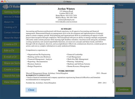 home cv maker for mac