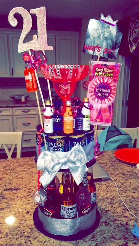 st birthday girl pink alcohol cake love  happy
