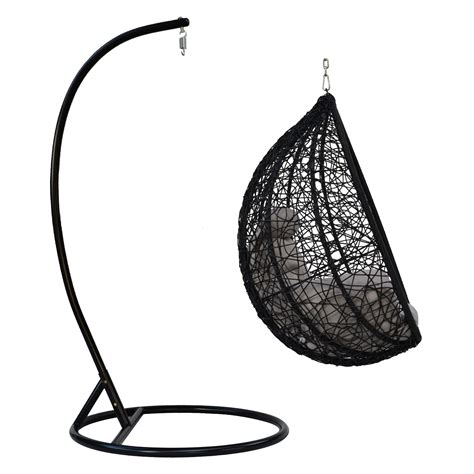 outdoor egg shaped wicker swing chair stand hammock patio