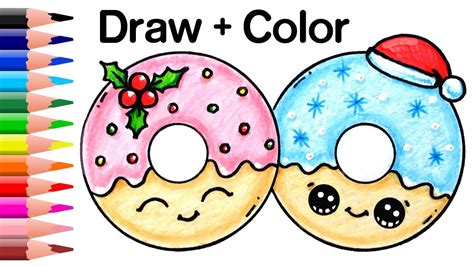 draw and color doughnut pencil and in color doughnut