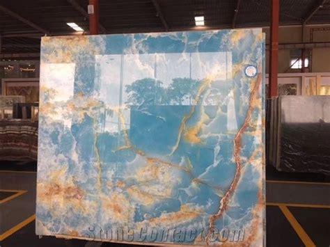 Pakistan Blue Backlit Onyx Slabs Covering Floor Wall Tiles