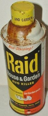 Raid House And Garden by Vtg Tin Litho Mcm Advertising Can Raid House Garden Bug