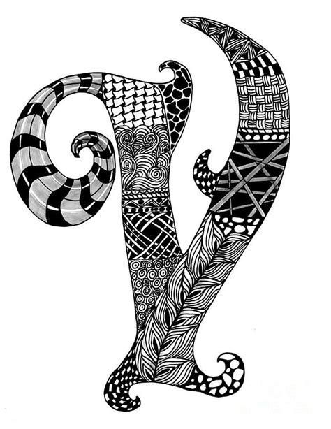 zentangle letter  monogram drawing doodle art letters