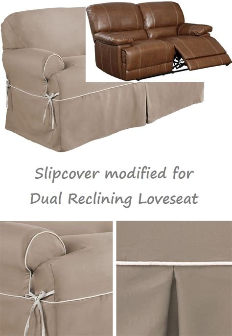 Recliner Loveseat Cover by Dual Reclining Loveseat Slipcover T Cushion Twill Contrast