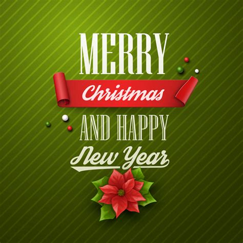 Merry christmas and happy new year logo template. Green merry christmas with happy new year card vector ...