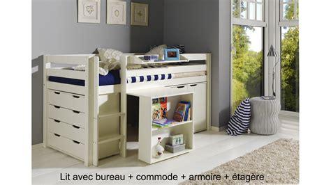 combine lit bureau lit enfant combiné bureau et rangement theo en pin massif