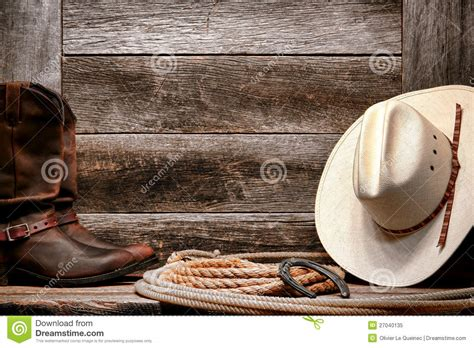 american west rodeo cowboy hat  lasso  boots stock