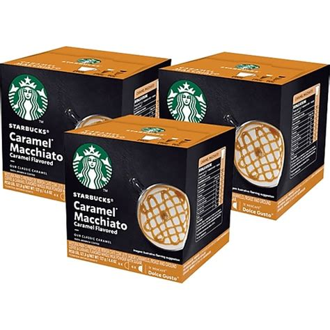 Packaged in a protective atmosphere. Starbucks by NESCAFÉ Dolce Gusto Caramel Macchiato Capsules Coffee, Medium Roast, 4.4 oz., 12 ...
