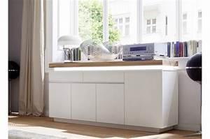 Buffet Salon Blanc : buffet design laqu blanc mat et ch ne led cbc meubles ~ Teatrodelosmanantiales.com Idées de Décoration