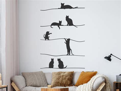 Wandtattoo Kinderzimmer Katze by Wandtattoo Katzen Auf Dem Seil Wandtattoos De