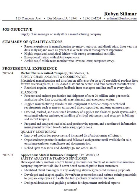 resume for a supply chain manager or analyst susan