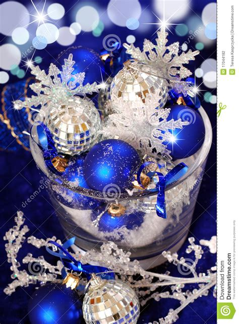 christmas decoration  deep blue colors stock photography