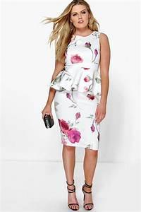 plus kimmy floral peplum midi dress at boohoocom With robe peplum grande taille