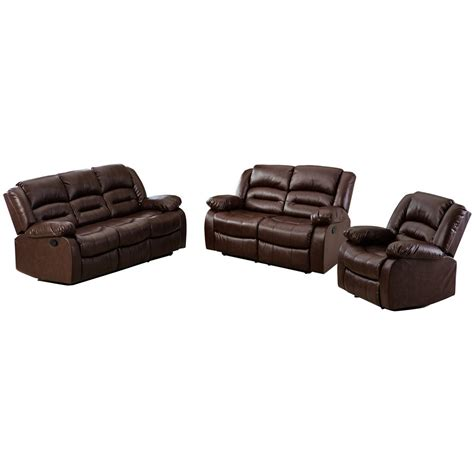 brown leather recliner sofa set nora brown leather reclining 3 pc living room sofa set