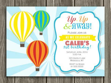 Printable Kids Hot Air Balloon Birthday Invitation Kids