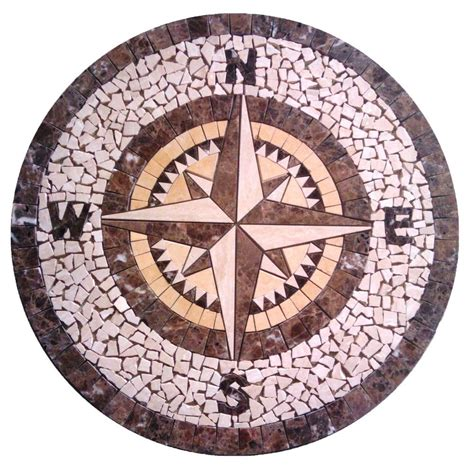 marble floor medallion mosaic travertine 36 compass