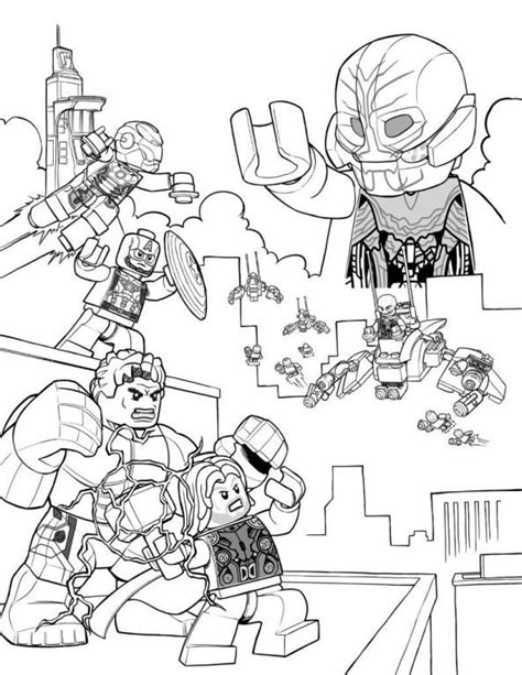 coloring page lego marvel avengers age of ultron comic