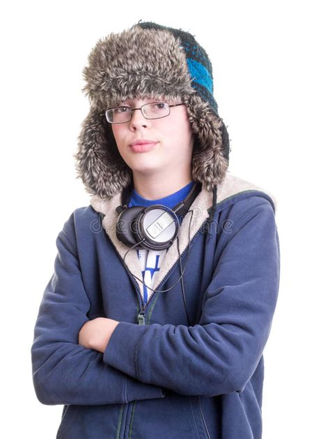 Cool Teen with Trapper Hat stock photo Image of music