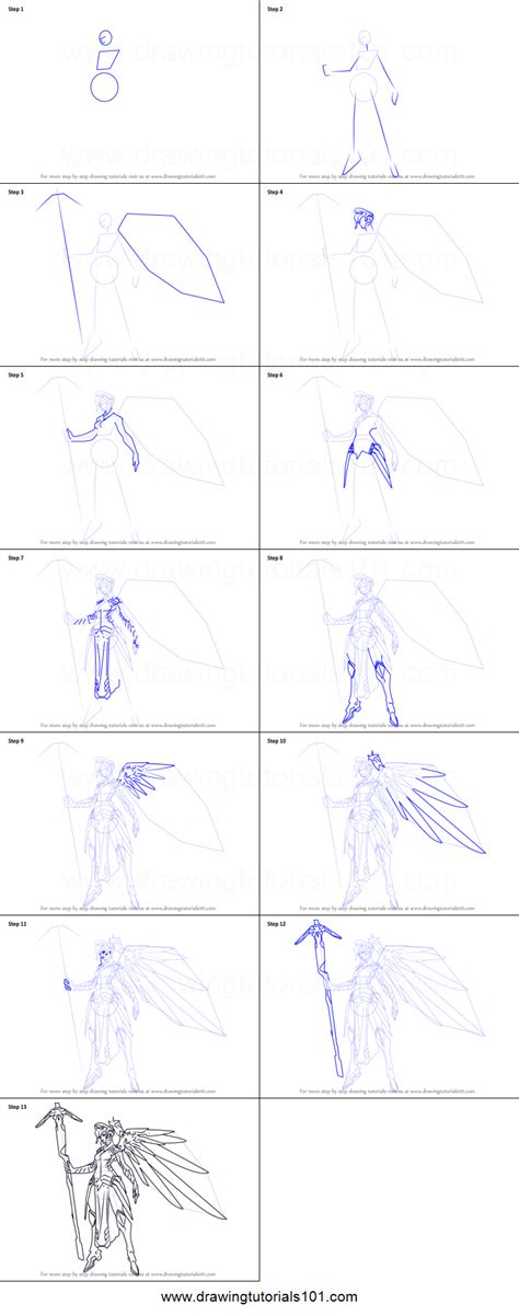 draw mercy  overwatch printable step  step drawing sheet drawingtutorialscom